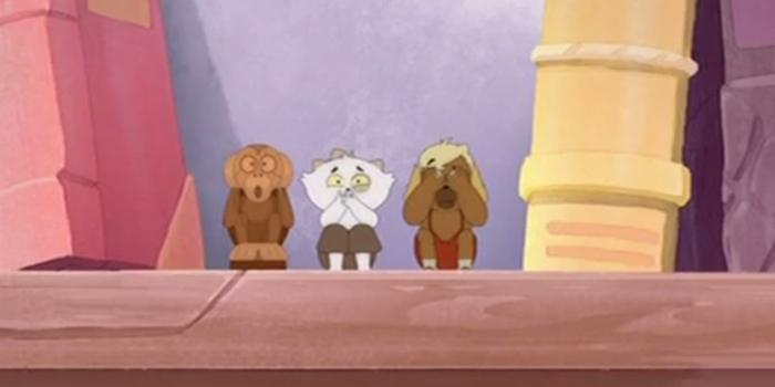 Кадр из 22-го эпизода сериала «Дофус: Сокровища Керуба»: Керуб и Инди притворяются обезьянами