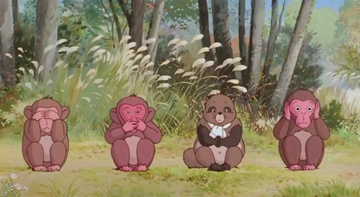 Кадр из мультфильма «Пом-поко: битва тануки в эпоху Хэйсэй». Тануки превращаются в трех обезьян