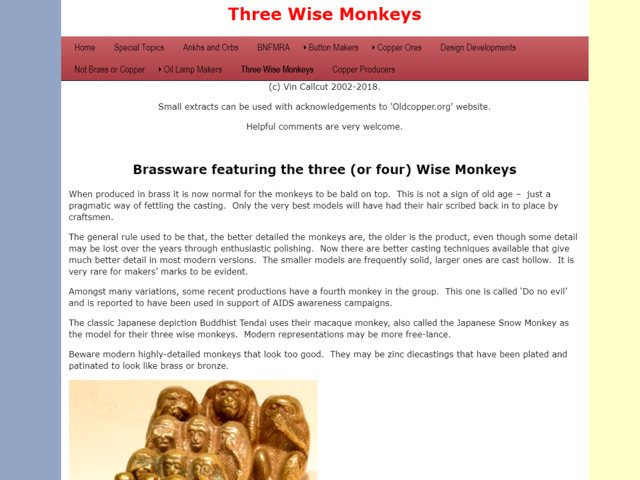 Три обезьяны в медном литье