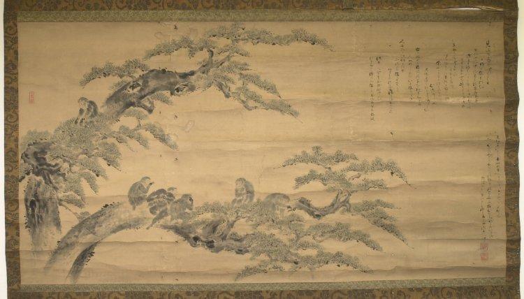 Свиток с деревом и обезьянами. Ёсинобу. 1817 г. Британский музей